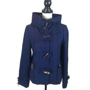 Anthropologie Elevenses Blue Wool Blend Pea Coat